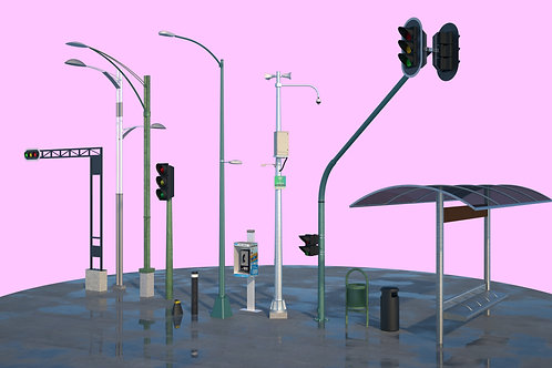 Mobilliario urbano CDMX 3D 001