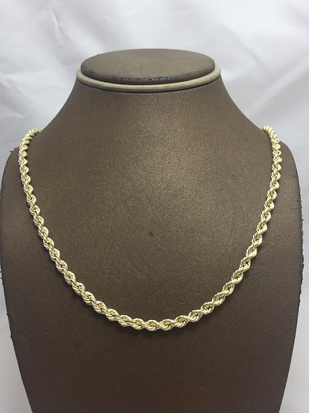10K 3mm Rope Chain Hollow