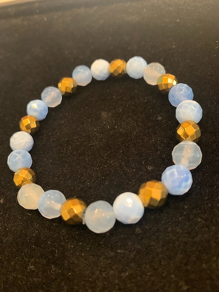 BLUE AGATE / GOLD HEMATITE