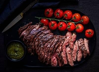 Hanger steak with basil pesto