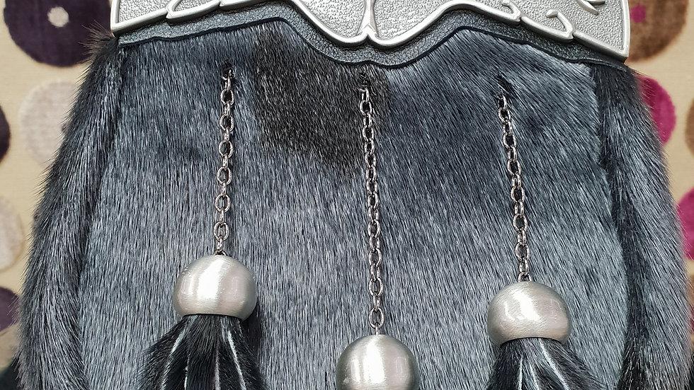 BLACK BOVINE FULL DRESS THISTLE SPORRAN