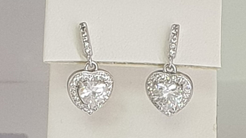925 STERLING SILVER CZ DROP HEART EARRINGS