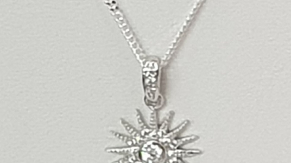 925 STERLING SILVER STARBURST NECKLACE
