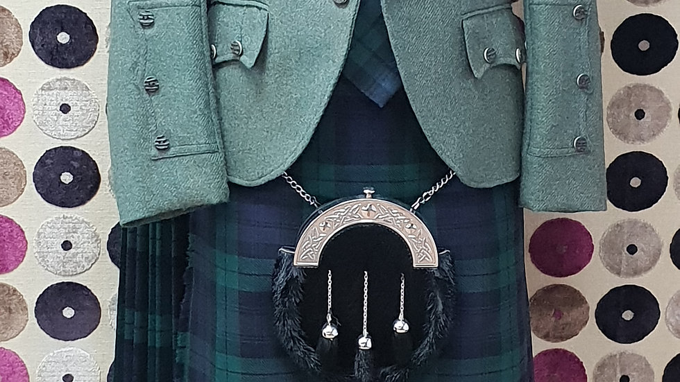 (HIRE):FULL HIGHLAND DRESS KILT OUTFIT BLACKWATCH TARTAN