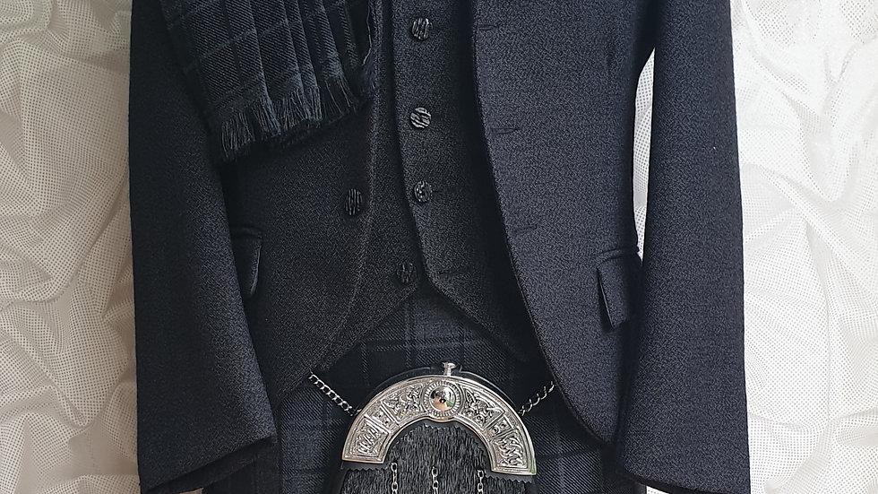 (HIRE) : FULL HIGHLAND DRESS KILT OUTFIT GREY HIGHLANDER TARTAN