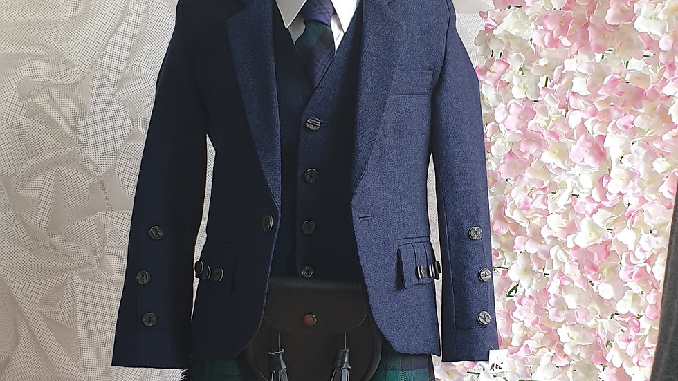 (HIRE) : KIDS FULL HIGHLAND DRESS OUTFIT BLACKWATCH TARTAN