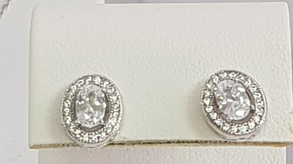 925 STERLING SILVER ROUND CZ EARRINGS