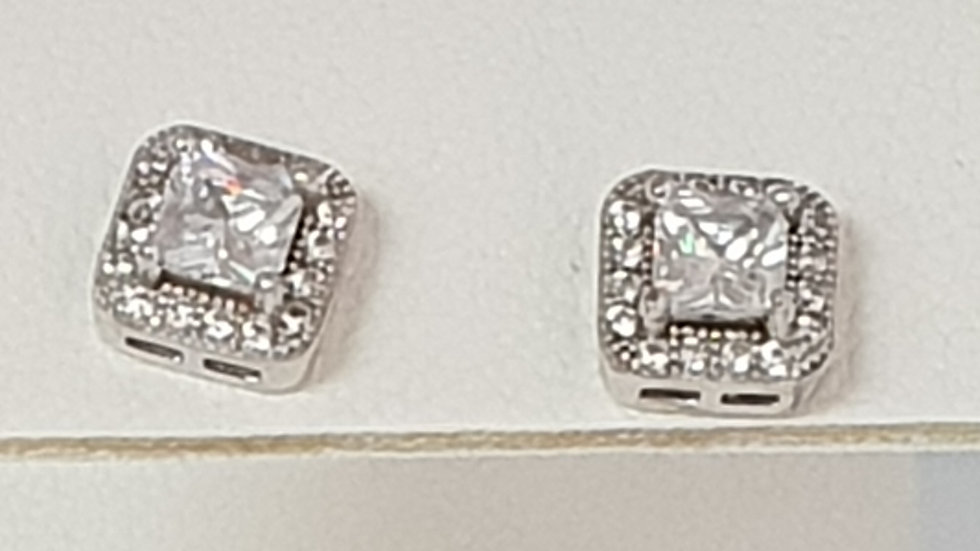 925 STERLING SILVER CZ SQUARE STUD EARRINGS