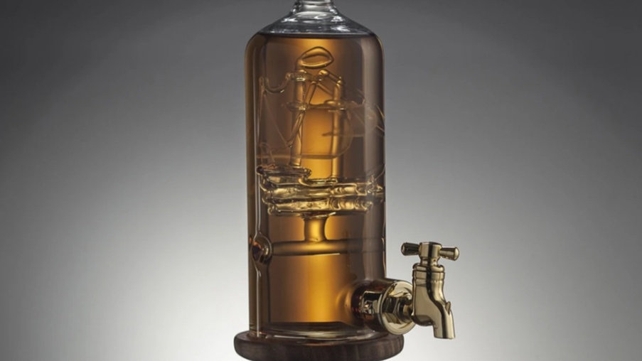 SHIP IN A BOTTLE WITH DECANTER TAP