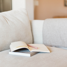 Notebook on sofa