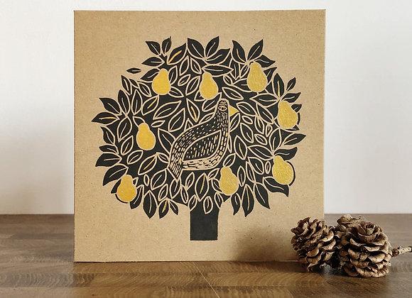 Partridge & Pear | Lino Print | Greetings Card