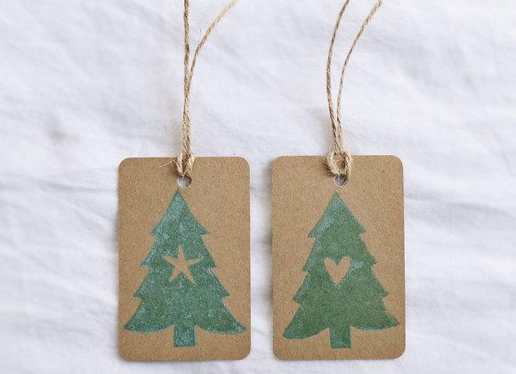 Little Christmas Tree | Lino Print | Gift Tag Set