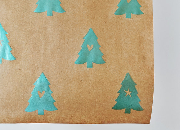Little Christmas Tree Print⎜Handprinted Eco-Wrapping Paper