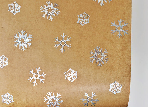 Silver Snowflake Print⎜Handprinted Eco-Wrapping Paper