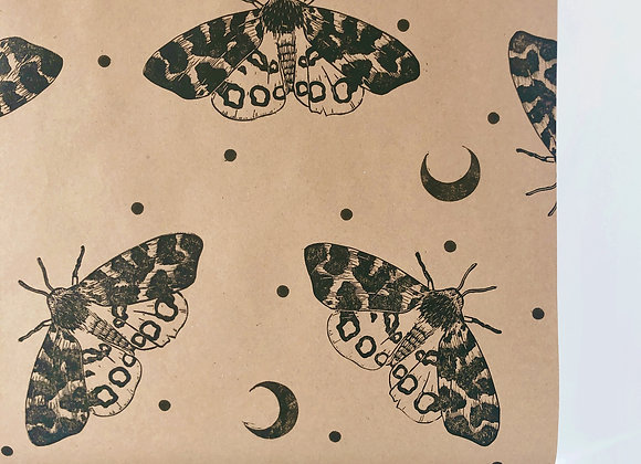 Mystic Moth Print⎜Handprinted Eco-Wrapping Paper