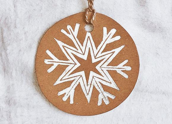 Silver Snowflake | Lino Print | Gift Tag Set