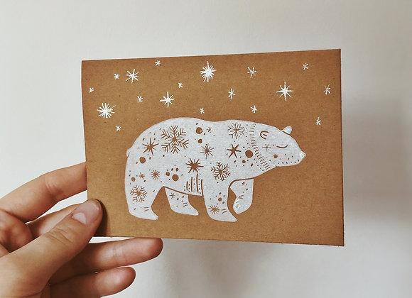Snowy Polar Bear   Lino Print   Greetings Card