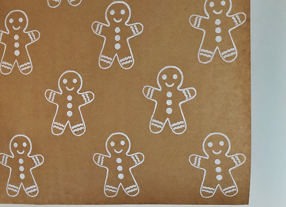 Gingerbread Man Print⎜Handprinted Eco-Wrapping Paper