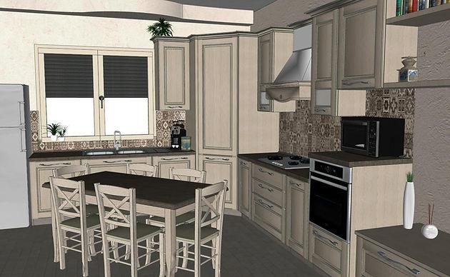 Progettazione Cucina Classica 3D | Tarsi ed Intarsi - arredamenti ...