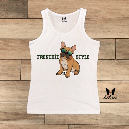 Top Canotta DONNA - BULLDOG FRANCESE -FRENCHIE STYLE
