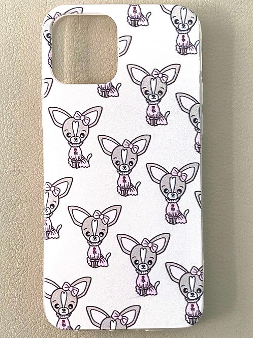 Cover iPhone12 - CHIHUAHUA PINK BOW