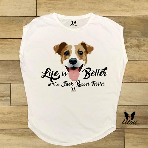 T-shirt donna OVETTO - LIFE WITH JACK RUSSEL