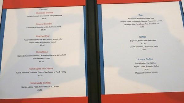 Kishmish dessert menu