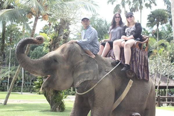 Julie Anne and Tatjana Rhodes traveling by elephant