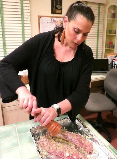 Julie Anne Rhodes making pork tenderloin