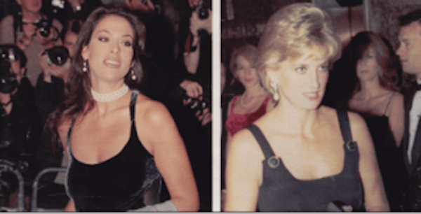 Julie Anne Rhodes and Princess Diana at London Film Premiere