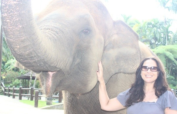 Julie Anne Rhodes with elephant