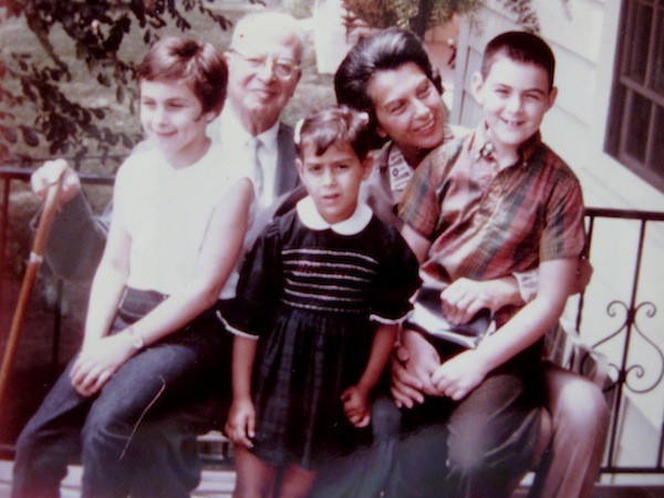 "My cousin Jane, ""Big"" Grandpa, Grandma Ellie, and cousin Larry"