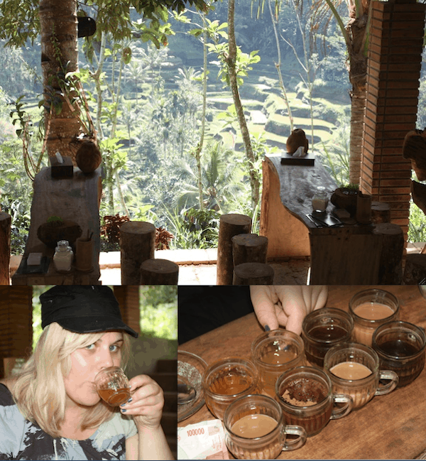 Tatjana Rhodes enjoying Balinese coffee and tea