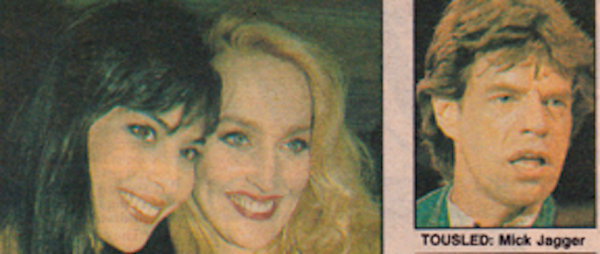 Julie Anne Rhodes with Jerry Hall and Mick Jagger