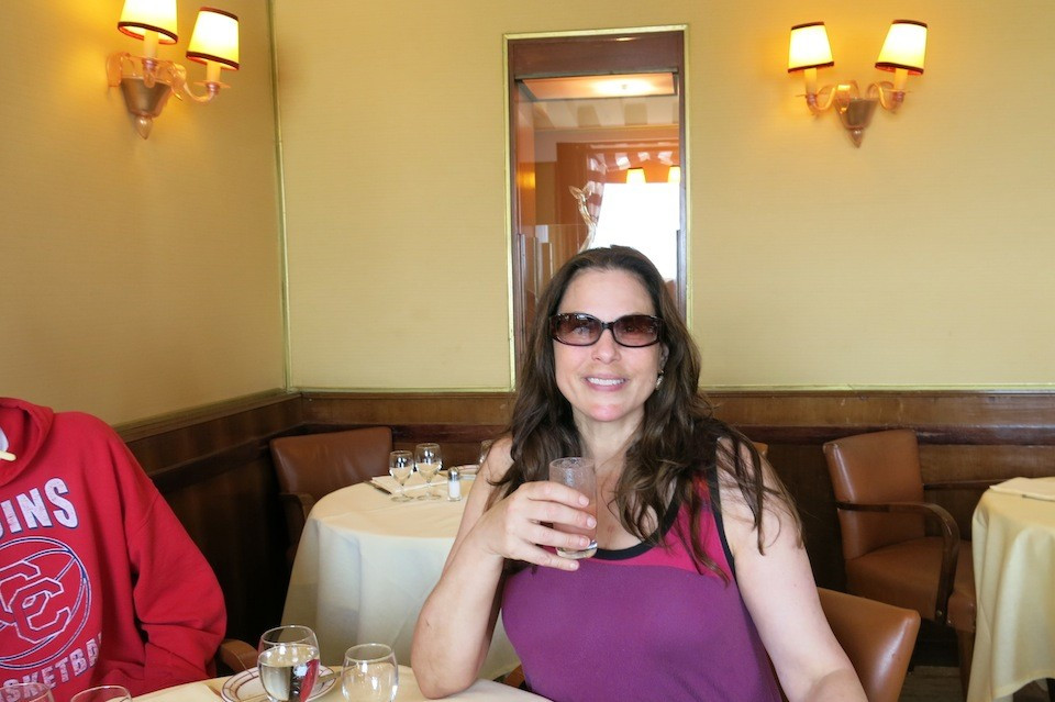 Julie Anne Rhodes enjoying a virgin bellini at Harry's Bar, Venice