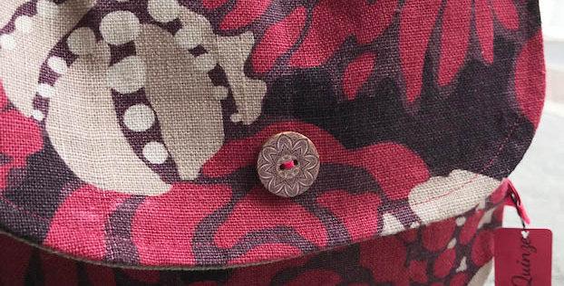 """Polly"" - Floral linen fabric bag"
