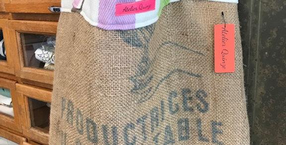 Vintage hopsack tote bag