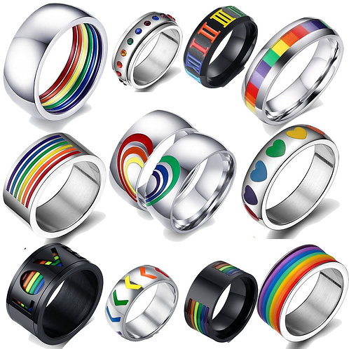 Rainbow Colorful Ring Stainless Steel Band