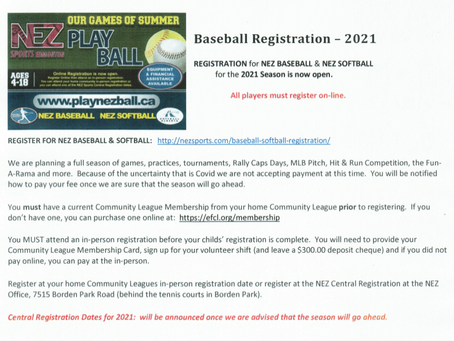 BASEBALL REGISTRATION 2021!