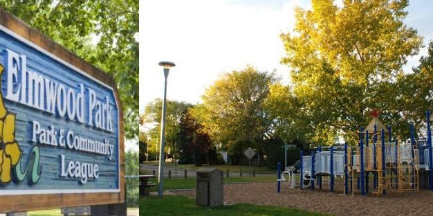 Elmwood Park sign and playground