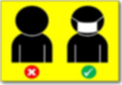 icon of individual without face covering and individual with face covering