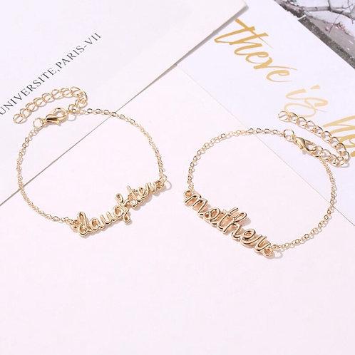 Crystal Engraved Mother & Daughter Bracelet 💖