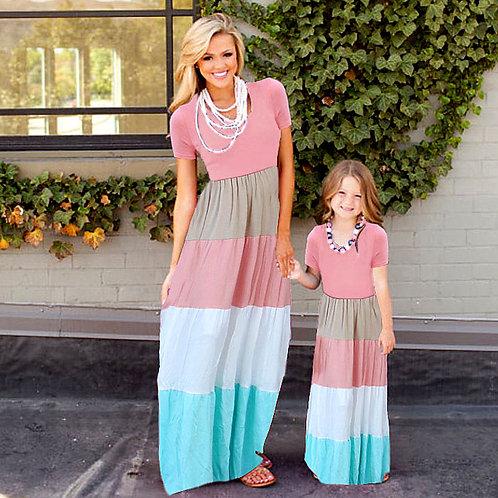 Multi Color Striped T-Shirt Maxi Dress 💖