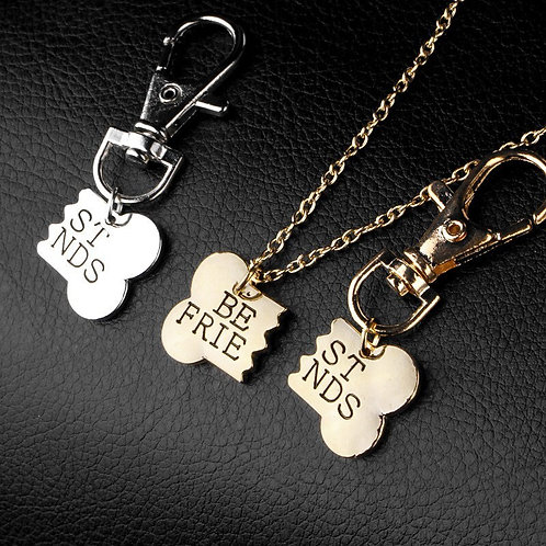 2Pcs Set Dog Bone Necklace & Charm for Dog Collar