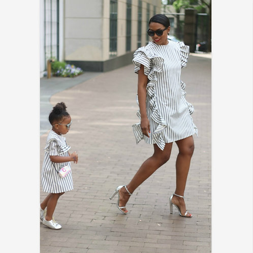 Blue & White Striped Ruffle Sleeve Dress 💖