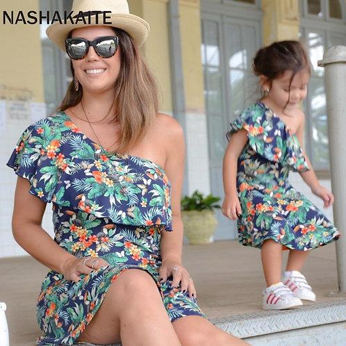 Leaf Print One Shoulder Mini Dress 💖