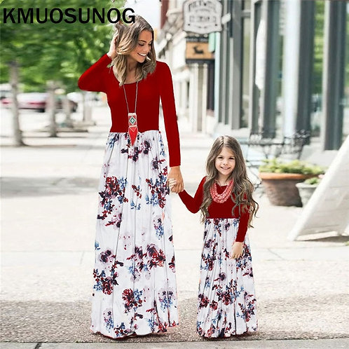 Autumn Casual Floral Long Sleeve Maxi Dress & Baby Romper 💖