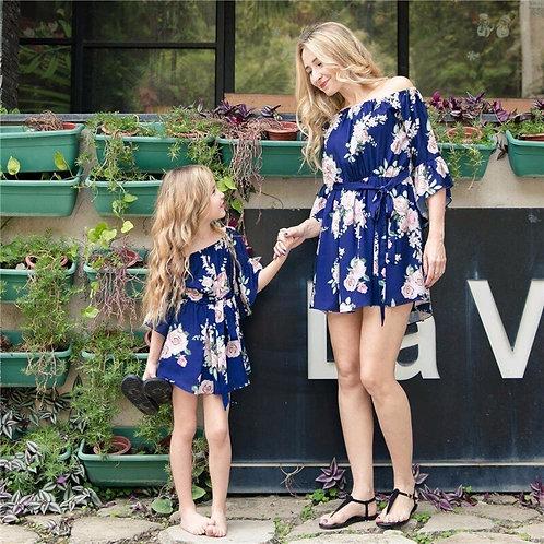 Floral Off Shoulder Three Quarter Length Sleeve Mini Dress 💖