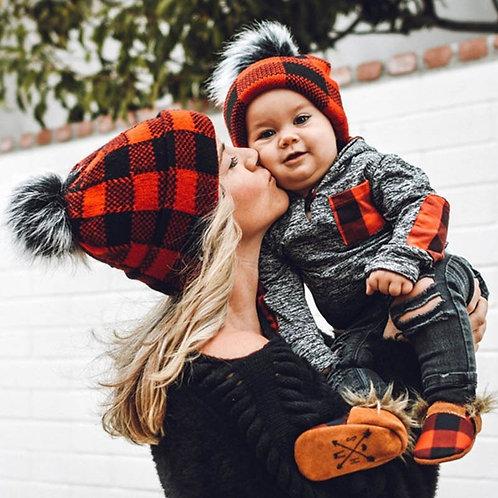 Mommy & Me Plaid Winter Hats with Pom Pom