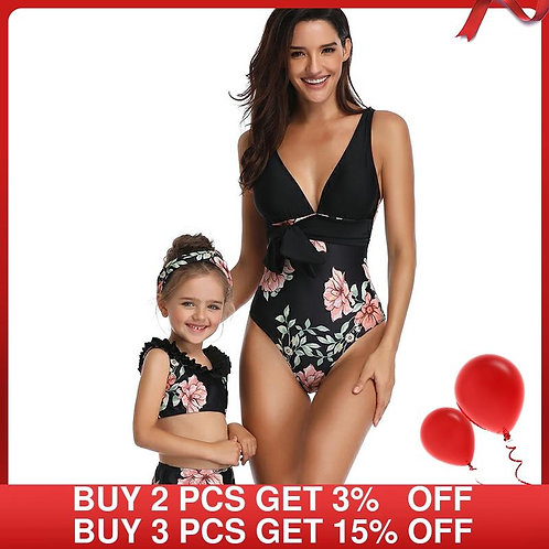 Mother & Daughter Matching Floral Swimwear